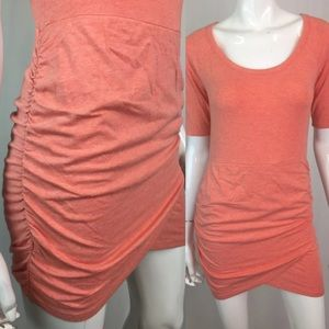 Athleta Coral Pima Modal Ruched Tulip Shirt Dress